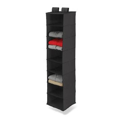 Honey Can Do - 8-Shelf Hanging Organizer in Black - Hangs for easy storage. Hook and loop fastening fits over closet rod. 8wide shelves. Holds bulky sweaters or accessories. Durable polyester material. Wipes clean. Add storage drawers. Compatible with Honey-Can-Do storage drawers for even more storage possibilities. 12 in. L x 12 in. W x 54 in. H (1.9 lbs.)Honey-Can-Do SFT-01246 8-Shelf Hanging Vertical Closet Organizer, Black Polyester. Turn a jumbled mess into a well-organized closet with our soft storage solutions. This durable piece keeps clutter at bay using every inch of available space for endless storage possibilities. This organizer has reinforced shelves for great capacity and easily attaches directly to your closet rod with Velcro-style straps. Perfect for organizing bulky sweaters, pants, shirts, and bags. One item in Honey-Can-Do's mix and match collection of sturdy polyester closet organizers available in several colors, it's a perfect blend of economy and strength.Matching storage drawers (SFT-01248), not included, instantly create more space for socks, undergarments, and accessories.