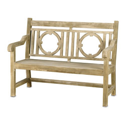 Currey & Co - Currey & Co 2385 Leagrave Portland Small Bench - This sturdy wooden bench will be at home in your hallway or outdoors in the garden. Featuring a weathered finish that gives the bench a comfortable feel, it will instantly fit into your surroundings. Unlike many other benches, the Currey & Co 2385 Leagrave Portland Small Bench is designed to be as beautiful as it is functional. Simple, yet elegant designs in the back of the seat add a rustic appeal.