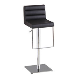J&M Furniture - Black C192-3 Swivel Barstool - It swivels 360 degrees and has a hydraulic adjustable seat.Manufactured with foam injection molding and a unique curvy design.Advantages of foam injection molding include absence of the sink mark on the part surface, better geometric accuracy, weight reduction, low back pressure, faster cycle time, better weld line strength, high stiffness-to-weight ratio, etc.