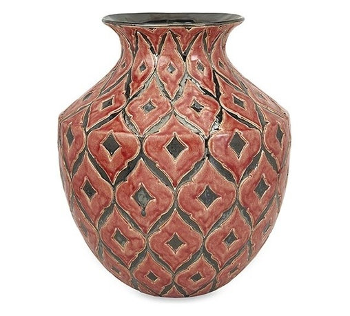 iMax - Azzura Oversized Wide Floor Vase - The wide Azzura oversized floor vase features a warm Moroccan inspired raised pattern with a soft red/orange glazed finish.