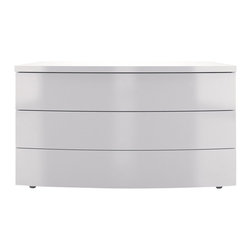 Modloft - Ludlow White Lacquer Dresser - This dresser is perfect for the stylishly modern and contemporary bedrooms. It has three large drawers of storage. Made of hardwood construction, the Ludlow 3 Drawer Dresser in White Lacquer offers a beautiful white lacquer finish. Assembly required.    Features: