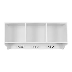 Safavieh - Avice Wall Shelf - Reminiscent of schoolhouse cubbies, the Avice Wall Shelf is designed to minimize entry hall clutter, and keep kids organized.  Made from poplar wood with clean white finish, this piece has three storage spaces for hats, gloves, or decorative accessories and hooks for coats and scarves.