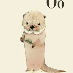 O for Otter Alphabet Print by Holli - This little guy is one in a whole series of alphabet letters illustrated with sweet animals. Spell out your child's name or your family's last name, or get adventurous and cover a whole wall with the alphabet.
