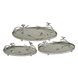 Uttermost - Birds On A Limb Mirrored Trays, Set of 3 - Antiqued, Silver Champagne Metal Frames And Details With Plain Mirrors For The Tray Bases. Sizes: Sm-15X4X9, Med-18X4X11, Lg-21X5X13