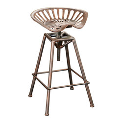 Great Deal Furniture - Charlie Industrial Metal Design Tractor Seat Barstool - Add a touch of industrial chic to your space. This eccentric steel bar stool features an elaborate contoured seat and an aged copper finish. If you prefer the unconventional, this one's for you.