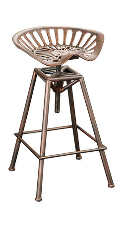 Great Deal Furniture - Charlie Industrial Metal Design Tractor Seat Bar Stool - Add a touch of industrial chic to your space. This eccentric steel bar stool features an elaborate contoured seat and an aged copper finish. If you prefer the unconventional, this one's for you.