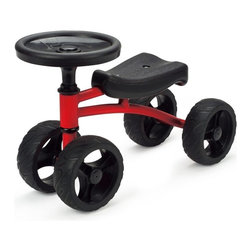 Hape - Hape Driver - Black / Red - T60213 - Shop for Tricycles and Riding Toys from Hayneedle.com! With its cool red metal frame nubby black tires and easy-grip steering wheel the Hape Driver - Black / Red will quickly become your little one's favorite ride around the house through the backyard or down the sidewalk. The steering wheel easily turns the double-wheeled front axle and the design makes pushing the Driver along fun and easy. Recommended for ages 18 months and up.About Hape InternationalDrawing on decades of child development expertise Hape (pronounced hah-pay) International is sensitive to children's needs whenever they develop and design a new toy. Their toys support children throughout every stage of development. This support starts at a very young age to help nurture and develop their natural abilities. Hape International's first priority is to encourage children in their individual development through building their self esteem. With their high-quality toys and games they support children as they play learn interact and grow. Hape understands that children's social emotional intellectual and physical health is a key issue not only for parents but also for a healthy society. That's why they take this responsibility very seriously and conduct a wide range of toy safety tests. The result is safe exciting stimulating toys.
