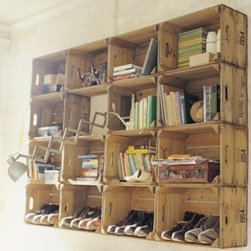 Crate storage from Baileys Home and Garden - If you can score an entire lot of matching vintage crates, create a wall grid with them for one eye-catching storage piece. I love the idea of storing your shoes in these wood crates — the solution would look neat in a mudroom. UK shop Bailey Home & Garden sells these vintage crates, but they're easy enough to find stateside. Etsy is a great online source for hunting down vintage crates.