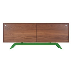 Eastvold Furniture - Elko Credenza, Walnut, Green Base - Midcentury meets modern in one sleek, versatile package. Stash everything from keys, files and homework to dishes, video equipment and books behind the sliding doors. Add a laser cut, powder-coated base in one of six colors to the adjustable shelves and wire passages, and you get myriad ways to fall in love.