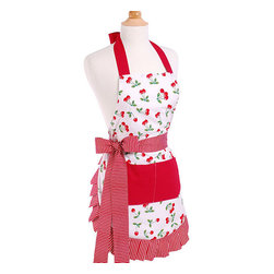 Flirty Aprons - Very Cherry Women's Original Flirty Apron - The Very Cherry apron features a vintage print for a fun and retro feel. This apron is 100-percent cotton allowing for comfort and flexibility. This durable,double-layered apron was designed with a long,thick waist  and real woman in mind.
