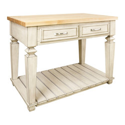 """French White Island with Two Drawers - This island features two drawers on one side and a bottom shelf for additional storage. Drawers feature full extension soft-close slides.  Coordinating decorative hardware is included.  Maple grain butcher block top is 1 3/4"""" thick."""