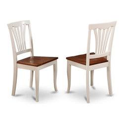 East West Furniture - Dining Chair in Cherry Finish - Set of 2 - Set of 2. Vertical slatted back. Sleek hardwood tabletop with sturdy carved pedestal. Gently arced chair back graceful carving. Made from 100% Asian solid wood. Made in Vietnam. Assembly required. Seat height: 18 in.. Overall: 17 in. W x 16.5 in. D x 38.5 in. H (37 lbs.)