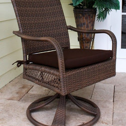 Hospitality Rattan - Grenada Patio Swivel Rocking Dining Chair - Constructed of an Aluminum frame wrapped in woven Viro Fiber. Cushions are optional on this item. Weather and UV resistant. Available in Viro Antique Brown finish or White Wash fiber. Matching dining group and pub set available. Stackable design helpful In commercial settings. Overall: 24 in. W x 29 in. D x 36 in. H (20 lbs.)The Grenada Collection has a contemporary, yet tropical feel that offer a clean look for any patio area and the convenience of all-weather wicker. Supported by an Aluminum frame wrapped in high quality Viro Fiber. This all-weather wicker swivel rocking dining chair is incredibly comfortable with or without cushions. The simplicity of the Grenada collection and the versatility really make it an excellent choice for anyone. These chairs require assembly and are also contract quality.