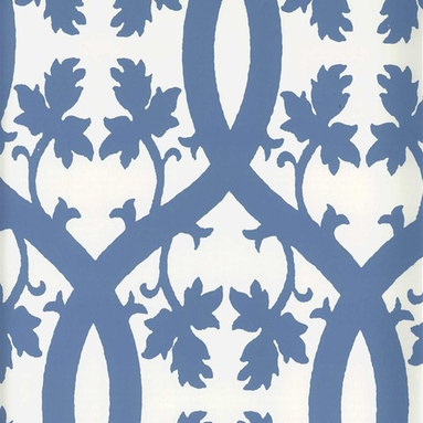 Niccolo Wallpaper - Give walls a graphic blue and white look with this pattern from Stroheim. Find it at AmericanBlinds.com.
