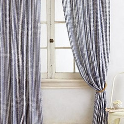 "Anthropologie - Fringed Toulon Curtain - Sold individuallyTunnel tab constructionCottonMachine wash50""WImported"