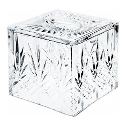 "Godinger Silver - Dublin Crystal Tissue Dispenser - The charming Dublin design of this crystal tissue holder will be a welcoming addition to any bathroom and help you achieve a pleasing, clean look for your dressing table or counter. Comfortably keep tissues within reach at all times and dress up simple tissues or make colorful and decorative ones stand out in the crystal clear and pristine tissue dispenser. Luxurious yet classy, this square shaped tissue box embodies a finely handcrafted crystal construction for an elegant presentation. * Dimensions: 6.25""Sq. X 6"" X 6.25""T."