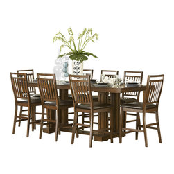 Homelegance - Homelegance Everett 7-Piece Counter Dining Room Set in Oak - Create a casual feeling in your formal dining room with the classic Everett collection. Arts and crafts styling is used to add an air of tradition to this new dining concept. The gathering height table is 96 inches long allowing for the casual atmosphere created by counter height seating while still allowing for large groups to gather. The dining group's trestle base table, medium oak finish over oak veneers with bowtie inlay accents perfectly exemplifies the arts and crafts style of this new dining configuration. Also available in cherry finish.