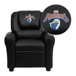 """Flash Furniture - Texas at Tyler Patriots Black Leather Kids Recliner with Cup Holder and Headrest - Get young kids in the college spirit with this embroidered college recliner. Kids will now be able to enjoy the comfort that adults experience with a comfortable recliner that was made just for them! This chair features a strong wood frame with soft foam and then enveloped in durable leather upholstery for your active child. This petite sized recliner is highlighted with a cup holder in the arm to rest their drink during their favorite show or while reading a book. University of Texas at Tyler Embroidered Kids Recliner; Embroidered Applique on Oversized Headrest; Overstuffed Padding for Comfort; Easy to Clean Upholstery with Damp Cloth; Cup Holder in armrest; Solid Hardwood Frame; Raised Black Plastic Feet; Intended use for Children Ages 3-9; 90 lb. Weight Limit; CA117 Fire Retardant Foam; Black LeatherSoft Upholstery; LeatherSoft is leather and polyurethane for added Softness and Durability; Safety Feature: Will not recline unless child is in seated position and pulls ottoman 1"""" out and then reclines; Safety Feature: Will not recline unless child is in seated position and pulls ottoman 1"""" out and then reclines; Overall dimensions: 24""""W x 21.5"""" - 36.5""""D x 27""""H"""