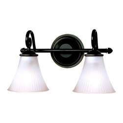 Seagull - Seagull Joliet Bathroom Lighting Fixture in Heirloom Bronze - Shown in picture: CLOSEOUT SPECIAL - 44936-782 Two Light Wall/Bath in Heirloom Bronze finish with Smokey Amber�Glass