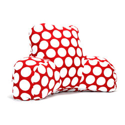 Majestic Home - Indoor Red Hot Large Polka Dot Reading Pillow - Whether you're settling in with a good book, gearing up for your favorite show or just chilling out, you're in good arms with this reader. Another reason to relax? It's so easy to care for. Simply unzip the slipcover and toss in the machine.