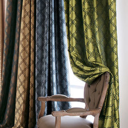 """Horchow - Each 96""""L Curtain - Add interest to a room by dressing the windows in a modern, woven tile pattern. Made in the USA of imported material. Curtains have 3"""" rod pockets and tabs, too, for whichever way you want to hang them. Made of polyester with polyester/cotton lining E..."""