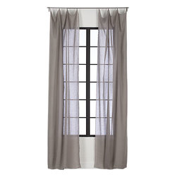 French-Belgian Light Gray Linen Panel - These light gray linen curtain panels are great for a office/guest room combo room. When the room is functioning as an office, the panels let natural light filter in. When the room is catering to a guest, the panels can be pulled over the window for privacy.