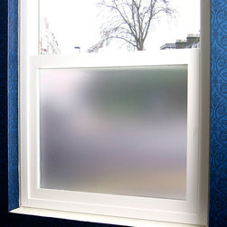 Simply Private Frosted Privacy Film - 4 ft. x 7 ft. - This fully frosted adhesive designer privacy film is designed to add dimension to any space needing to block visibility through glass windows.  This sanded / frosted film is easily applied and can be removed without leaving heavy residue (in most circumstances). Perfect for shower doors, glass windows in bathrooms or bedrooms and any other location needing visual privacy.  Trims to fit many shapes & sizes of windows. The frosted privacy film is created to allow the most natural light penetration without altering the hue and color of the light source.  All films are printed with eco friendly inks and are suitable for indoor or outdoor use.   48W x 84H Oversized for Large Windows & Patio Doors