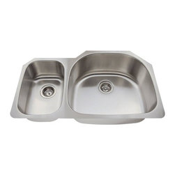 PolarisSinks - Polaris PR905 Offset Double Bowl Stainless Steel Sink - Stainless Steel is the most popular choice for today's kitchens due to its clean look and durability. The beautiful brushed satin finish helps to hide small scratches that may occur over the lifetime of the sink. Our Stainless Steel sinks are made from high quality 18 gauge steel. Most models are made of one piece construction that ensures the sturdiest kitchen sink you will find. Our sinks are made from 304 grade stainless steel that contains 18% chromium and 8-10% nickel and are guaranteed not to rust. Each sink is fully insulated and has a sound dampening pad. Our stainless steel sinks are backed by a Limited lifetime warranty. Each sink comes with a cardboard cutout template and mounting hardware.
