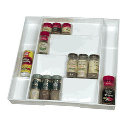 Expandable Spice Drawer - Store your spices neatly, and make it easy to find and use them when you're cooking. I keep mine in a cabinet, but I am always digging around for the right way to organize them. I need this!