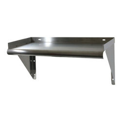 New Buffalo Corp. - Sportsman Series 24 Inch Stainless Steel Work Shelf - The Sportsman Series Stainless Steel work shelf is the perfect addition to your kitchen, garage, or basement. A smooth 24 x 12 in. surface provides additional storage space for supplies. Curved edges help prevent injuries from accidental bumping and injury. Raised edges on three sides keep items on the shelf and off the floor.
