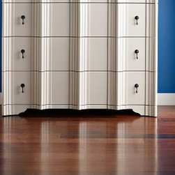 Pantone's Colors of the Year - Hickory – Brandywine: This rich, dark hickory foyer flooring makes a dramatic statement in a high traffic area. The dark floor contrasts well with the lighter décor accents - the blue wall, white furniture and antique drawer pulls.