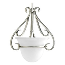 "Progress Lighting - Progress Lighting P5144-09 Torino 1 Light Mini Pendant in Brushed Nickel P5144-0 - One-light stem-hung mini-pendant with etched white oversized, bell-shaped glass bowl. Distinctive ebbing and flowing of squared scrolls and arms in Brushed Nickel finishBulb Type: Incandescent Collection: Torino Energy Star Compliant: No Finish: Brushed Nickel Height: 15-1 8"" Lamp Wattage: 100W max Length: 63"" Light Direction: Down Lighting Number of Lights: 1 Pendant Type: Bowl Shaped Socket 1 Base: Medium Socket 1 Max Wattage: 100 Style: Contemporary Suggested Room Fit: Bedroom, Entry Foyer, Kitchen, Office Type: Mini Pendant Weight: 7 Width: 13-1 8"" Wire Length: 10{General Tea stained (-77) or etched white (-09) glass bowl: 9-1 2""Dia. x 6-3 4""H. Hand painted Forged Bronze finish (-77) with brown and black tones Plated Brushed Nickel (-09) Square scroll arms and accents Stem mounted Steel construction Two 12"" and two 15"" matching stem sections supplied with concealed connectors Companion fixtures: Other chandeliers, hall and foyer, sconce, and close to ceiling {Mounting Ceiling mounted on stem Canopy Covers a standard 4"" octagonal recessed outlet box Canopy is 5-1 4""Dia. x 1-1 8""H. Mounting strap for outlet box included {Electrical Pre-wired 10' of wire Ceramic medium based socket {Labeling UL-CUL listedStem kit included: (2) 12"" LG. STEMS, (2) 15"" LG. STEMS AND (4) 1 8-IP x 3 4"" LG. NIPPLES"