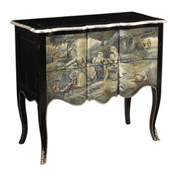 French Heritage - Roanne Chest, Black Frenchoiserie - This is not another light French romance. This classically designed chest is crafted to work beautifully in your bedroom, hallway or living room for many years to come. That it sports a scene-stealing little ménage à trois on the front only adds to the intrigue.
