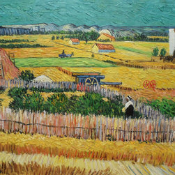 "overstockArt.com - Van Gogh - The Harvest - Hand painted oil reproduction of a famous Van Gogh painting, The Harvest. The original masterpiece was created in 1888. Today it has been carefully recreated detail-by-detail, color-by-color to near perfection. This painting, identical to his earlier drawing by the same name, was finished in one sitting. Van Gogh was so pleased with his work that he gave it the French title ""La Moisson"". Rare for Van Gogh because most of his work was titled by dealers, critics and art historians. Vincent Van Gogh's restless spirit and depressive mental state fired his artistic work with great joy and, sadly, equally great despair. Known as a prolific Post-Impressionist, he produced many paintings that were heavily biographical. This work of art has the same emotions and beauty as the original. Why not grace your home with this reproduced masterpiece? It is sure to bring many admirers!"