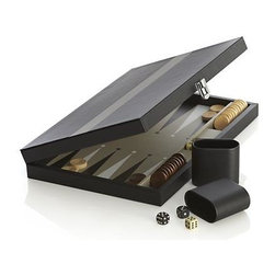 Black and Grey Backgammon Set - Classic backgammon set draws a winning score in our exclusive black and grey case.  A family room staple that travels too. Includes 30 checkers, 5 die and 2 dice cups.