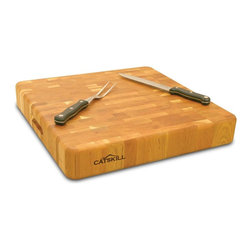 Catskill Craftsmen - The Slab Square Cutting Block - Butcher Block Collection. Made of US Hardwood from the Catskill Mountains. Oil finish. End grain won't dull knives. Reversible. Finger slots for easier handling. Rub down with mineral oil (or any type of food oil) before use. 18 in. L x 18 in. W x 3 in. H (23 lbs.). Made in the USAA butcher's block for the counter. 23 pounds of rugged beauty! The ultimate end grain domestic hardwood chopping block for serious chefs everywhere.