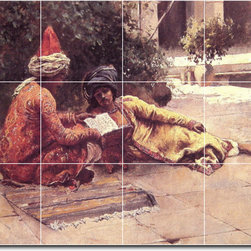 Picture-Tiles, LLC - Two Arabs Reading In A Courtyard Tile Mural By Edwin Weeks - * MURAL SIZE: 18x24 inch tile mural using (12) 6x6 ceramic tiles-satin finish.