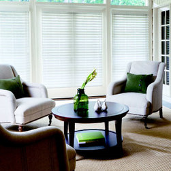 "Levolor Faux Wood Blinds - 2 1/2"" Visions Faux Wood. Whites and off-whites,Neutr - 2 1/2"" Visions Faux Wood - Buy with Confidence, Get Free Samples Today!Levolor 2 1/2"" Visions Faux Wood Blinds from Blinds.com is made from a durable polymer that will never chip, crack or peel, and is available in a beautiful range of painted and stained finishes. Ideal for large windows, these blinds offer a clearer view out than most horizontal blinds. These blinds are also lighter in weight than 2"" faux wood blinds. Choose upgrades that include cordless for easier operation, decorative ladder tapes to add style, and LightMaster, an option that hides the route holes for greater privacy and light control."