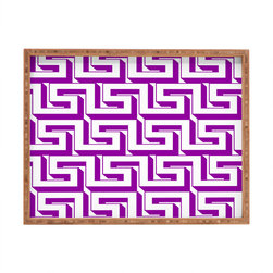 DENY Designs - Lara Kulpa Greeky Magenta Rectangular Tray - With DENY's multifunctional rectangular tray collection, you can use it for decoration in just about any room of the house or go the traditional route to serve cocktails. Either way, you��_��__ll be the ever so stylish hostess with the mostess!