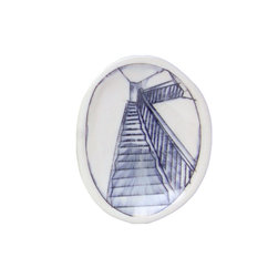 Nicole Aquillano Ceramics - Tiny Oval Dish - Porcelain oval dish with inlaid drawing of a staircase, and Nicole's signature on the back. Perfect as a little side dish for spices or herbs, as a stow place for your ring when things get messy, or beside the sink with a little soap! Tiny oval measures 5 inches long x 4 inches wide x 0.5 inch tall.