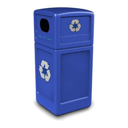 Commercial Zone - Commercial Zone Recycler 38 Gallon Blue Recycling Bin - 74610499 - Shop for Recycling Bins from Hayneedle.com! Additional FeaturesMade from 25 percent post-consumer recycled contentEasy-to-see bright blue colorUV inhibitors prevent the color fading in the sunLarge 38 gallon recycling binEncourage people to recycle with easy access to a recycling bin designed for high traffic areas. The Commercial Zone Recycler 38-Gallon Blue Recycling Bin features a lid with dual openings so people can drop recyclables into the bin from either side. The bright blue color is eye-catching and the recycling bin comes with decals so you can customize each bin for your recycling needs. Designed to be used indoors or out this recycling bin is made from high density polyethylene and 25 percent post-consumer recycled content and will not rust dent or chip. The patented Grab Bag system holds liners in place making this bin easy to keep up. With UV inhibitors to prevent the blue color from fading this recycling bin is a great way to promote recycling.