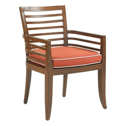 Lexington - Tommy Bahama Ocean Club Pacifica Dining Chair - The contemporary design of the striking horizontal line motif provides both comfort and support while remaining attractive. Our weather guard cushion straps snap the seat into place yet may be purchased separately for those who love to have color options.