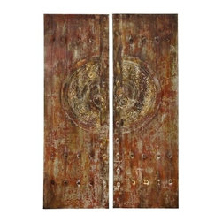 """Benzara - Canvas Art with Metallic Frontal in Brown Finish - Set of 2 - Canvas Art with Metallic Frontal in Brown Finish - Set of 2. Give interiors a classy aesthetic appeal with this Canvas Art - Set of 2 which is a perfect fusion of art and culture. It is available in 2 size variants - 59""""H x 20""""W x 2""""D, 59""""H x 20""""W x 2""""D."""