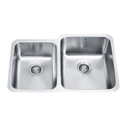 Vigo Industries - 60/40 Right Double Bowl Stainless Steel Undermount Kitchen Sink - Complement any kitchen decor with this 18 gauge premium stainless steel sink with 15 degree radius corners, satin finish and seamless construction.