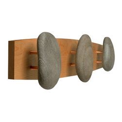 None - Triple Cherry Natural Stone Hooks - Bring home the essence of a spa by mounting these in your shower or bedroom. The stones are collected from private rivers and beaches in New England, and replaced with a rock purchased from a quarry.