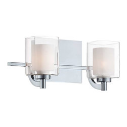 Quoizel - Quoizel 2 Light Kolt Bath Fixture in Polished Chrome - KLT8602C - This modern, posh collection features a simplistic design with a sleek polished chrome finish. The opal etched glass is encased with clear glass for a sophisticated and stunning look.