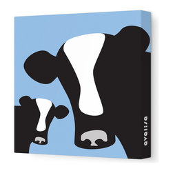 """Avalisa - Animal - Cows Stretched Wall Art, 12"""" x 12"""", Blue - Moo-ve over, plain and boring walls. These glamour girls are ready to milkshake their stuff and bring all the bulls to the yard. Cows come in classic black and creamy white with your choice of background colors. Remember: You herd it here first."""