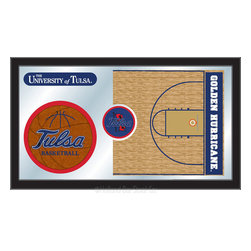 "Holland Bar Stool - Holland Bar Stool Tulsa Basketball Mirror - Tulsa Basketball Mirror belongs to College Collection by Holland Bar Stool The perfect way to show your school pride, our basketball Mirror displays your school's symbols with a style that fits any setting.  With it's simple but elegant design, colors burst through the 1/8"" thick glass and are highlighted by the mirrored accents.  Framed with a black, 1 1/4 wrapped wood frame with saw tooth hangers, this 15""(H) x 26""(W) mirror is ideal for your office, garage, or any room of the house.  Whether purchasing as a gift for a recent grad, sports superfan, or for yourself, you can take satisfaction knowing you're buying a mirror that is proudly Made in the USA by Holland Bar Stool Company, Holland, MI.   Mirror (1)"