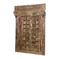 Sierra Living Concepts - Hand Carved Salvage Reclaimed Teak Wood Door - Infuse history and elegance into your home with our extraordinary Hand Carved Salvage Reclaimed Teak Double Doors & complete frame. This traditional handmade entryway is constructed with solid reclaimed teak wood from Gujarat. Old world artisans love working with teak wood because of its fine grain, strength, and durability.