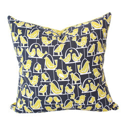 The Pillow Studio - Decorative Mama Bird and Baby Bird Pillow in Grey and Yellow with Polka Dots - I saw these two fabrics next to each other and just couldn't resist putting them together on a pillow! I love the playfulness of the birds and polkadots and the contemporary color combination of grey and yellow.